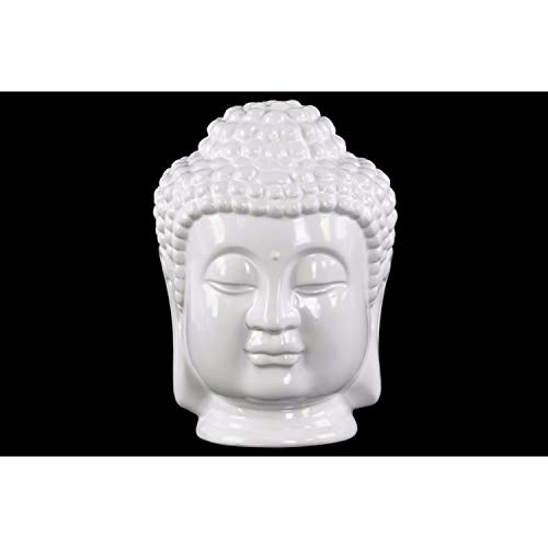 Statue Buddha Head Ceramic (Benzara Ceramic Buddha Head with Beaded Ushnisha Statue, White)