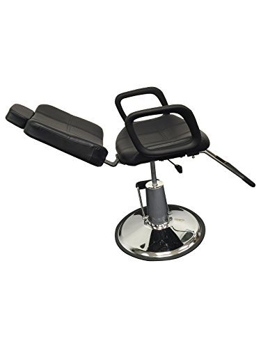 Black Leather Reclining Hydraulic Barber Chair Styling Salon Work Station Shampoo (Black) by D Salon