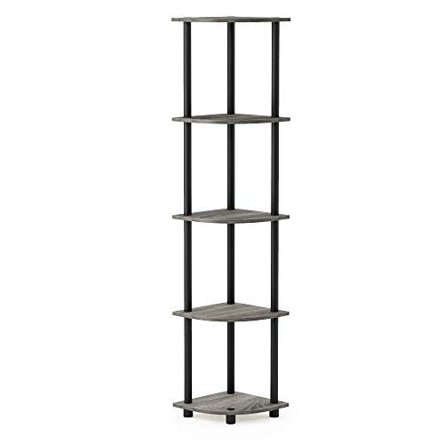 Furinno Turn-N-Tube 5 Tier Corner Display Rack Multipurpose Shelving Unit, French Oak Grey/Black