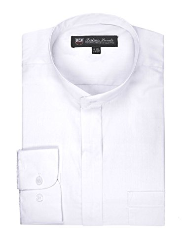 FORTINO LANDI Men's Long-Sleeve Banded Collar Shirt - White Large(16-16.5 Neck) Sleeve 34/35