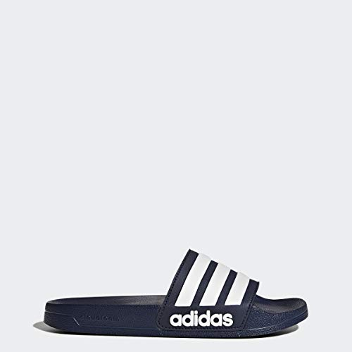 adidas Men's Adilette Shower Slide Sandal, White/Collegiate Navy, 10 M US