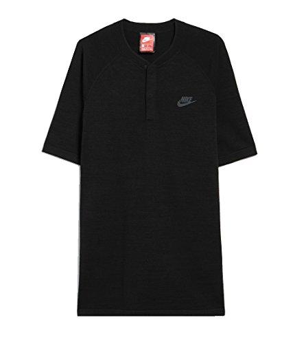 Nike Men's Tech Knit SS Polo Black/Slate Henley Shirt (Large) by NIKE