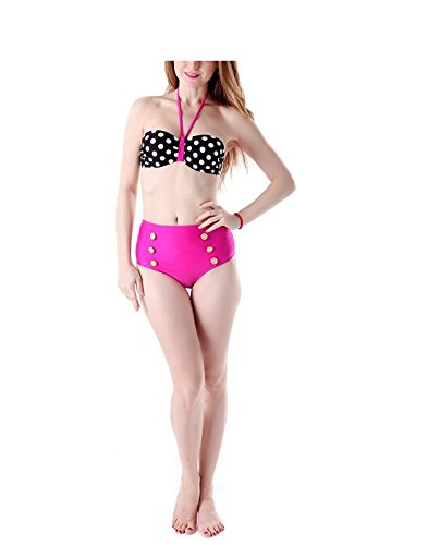 True Meaning Sexy Women's Sexy Bandage Bikini Polka Dots with Neon Green (All Sexy Bikinis Polka Dots Bikini)