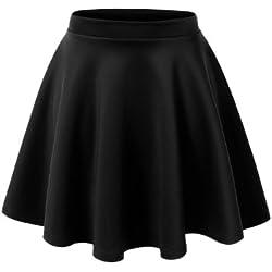 MBJ WB211 Womens Basic Versatile Stretchy Flared Skater Skirt XS Black