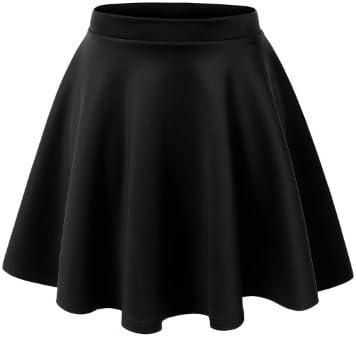 MBJ Womens Basic Versatile Stretchy Flared Skater Skirt - Made in USA