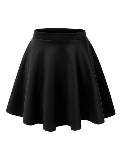 MBJ WB211 Womens Basic Versatile Stretchy Flared Skater Skirt M Black (School Korean Uniform)