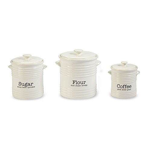 Mud Pie 4931007 Canister Set, White