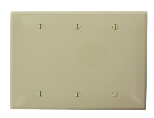 3 Gang Nylon Decora Leviton (Leviton PJ33-I Midway Size High Impact Thermoplastic 3-Gang Blank Wallplate, Ivory)
