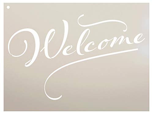 (Welcome Sign Stencil by StudioR12 | Reusable Mylar Template | Use to Paint Wood Signs - Front Porch - Pallets - New Home - DIY Home Decor - Select Size (12