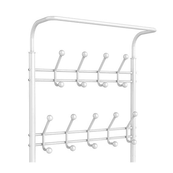 Yaheetech Fashion Heavy Duty Garment Rack with Shelves 3-Tier Shoes Rack,Coat Rack with Hanger Bar White - High quality: Constructed of powder coated metal tube, antirust and durable, won't be out of shape, strong and sturdy. 18 hooks coat rack: 18 hooks in 4 levels can be used for you and your kids' clothes, bags, hat, purse and handbags in different height and type. 3-tier shoe rack: 3-tier ample metal shelves provided to organize various size shoes , shoe boxes, and storage boxes. 3-tier shoe rack is suitable for keeping your shoes neat and organized. You can also storage your handbags on the top shelf. - hall-trees, entryway-furniture-decor, entryway-laundry-room - 31jCb SFLhL. SS570  -