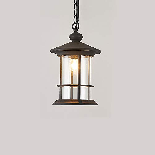 Seeded Clear Oxford Glass (Modenny Vintage Pendant Lamp Lanterns Outdoor Rainproof Hanging Light Rust Aluminum Glass Lampshade Ceiling Lighting Chandelier E27 Suspension Fixture Waterproof IP65 for Gazebo Grape Frame Hallway)