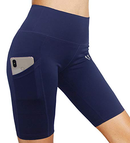 FIRM ABS Women's High Waist Yoga Shorts Compression Workout Shorts with Pocket Navy M (Rugby Navy Womens)