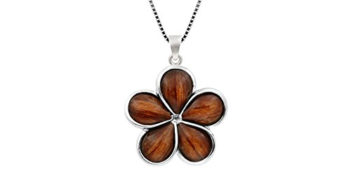 Koa Plumeria Pendant (Sterling Silver Koa Wood Plumeria Necklace Pendant with 18