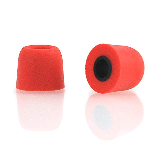 Earphone Tips Replacement 6 Pairs Memory Foam Anti-Slip Earphone Sleeves T-400 4.9mm Earbud Tips Noise Cancelling Medium Size Sponge Cover (Red)