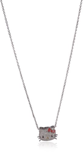 "Hello Kitty ""Sweet Statements"" Diamond and Sterling Silver Necklace, 18"""