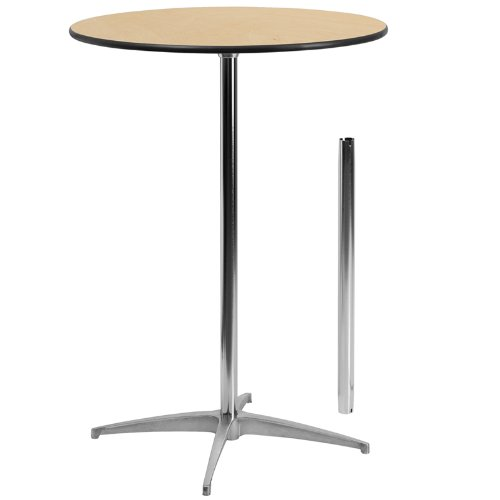 "Flash Furniture 30"" Round Wood Cocktail Table with 30"" and 42"" Columns"