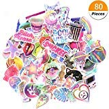 Godecal 80 Pack Pink Laptop Stickers for Girls Cute Stickers for Laptop Skateboard Luggage, Waterproof Vinyl Stickers Decal Rainbow Unicorn Lollipop Laser Stickers