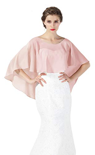 (Bridal Capelet Chiffon Cape Shawls High-Low Short Tops For Women Wedding Dresses Dusty rose)