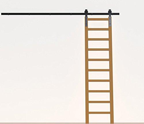 (DIYHD 10FT Rustic Black Sliding Library Ladder Hardware(No Ladder))