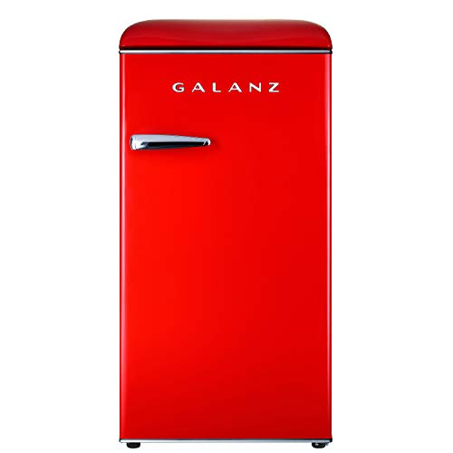 Galanz GLR33MRDR10 Retro Compact Refrigerator, Single Door Fridge, Adjustable Mechanical Thermostat with Chiller, 3.3 Cu Ft, Red