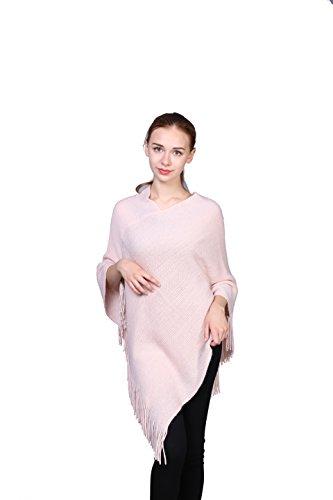 Femme Couleur Unie Extra Grand Évider Ponchos Cape Wrap Avec Des Glands Et Du Lurex(Rose)