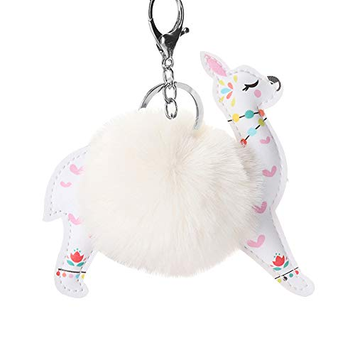 E-House Pop Keychain Gifts Keychains for Women Cute Faux Rex Rabbit Hair Alpaca Pendant Key Ring Holder Keychain Bag Decor - Beige