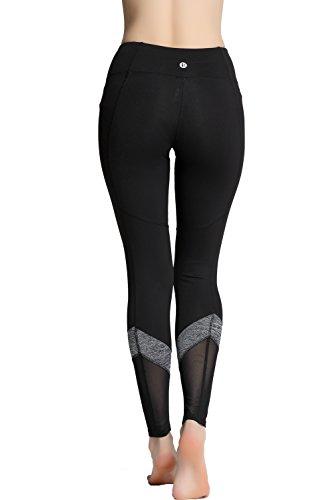 RUNNING GIRL Flexible Mesh Panel Ankle Leggings Workout Running Fitness Yoga Pants Leggings Pockets