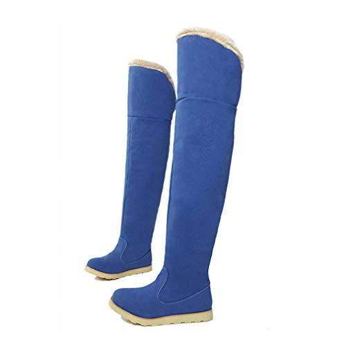 Hy colore Stivali scarpe Casual Da Neve signore Donna Comfort Blu Dimensione Inverno Piatto Ginocchio Caldo All'aperto Suede Grigio Il 35 Sopra Stivali Sci xxrwFqfS