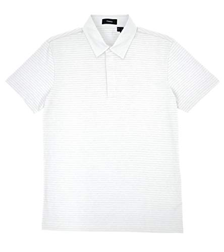 Theory Men's Claude NB Striped Knit Cotton Flame Jersey Hidden Button Polo Shirt White (X-Large)