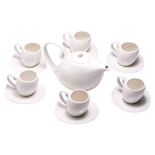 Porcelain Tea Coffee Set, 6 Pcs Tea Cup and Saucer with 1 Teapot