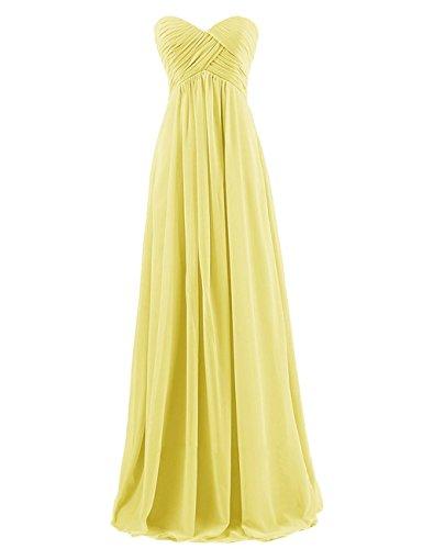 Kleid Kleider Festkleider Party Kleid Trägerlos Chiffon Abendkleider Yellow formale Brautjungfern CoCogirls Lange Damen Kleid Brautjungfer w7q8xHYv