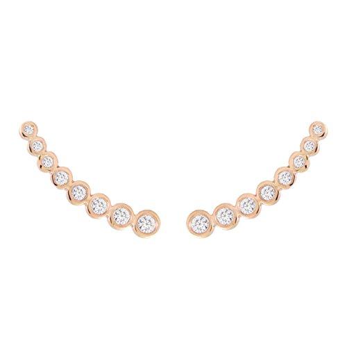 14k Gold Diamond Bezel-Set Curved Graduated Ear Crawler Ear Climber (.40cttw) Pink Gold