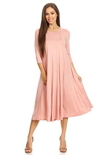 Casual Solid 3/4 Sleeve A-line Midi Dress/Made in USA (S-3XL) Dusty Rose (Usa Roses)