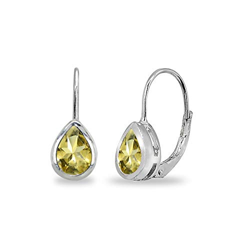 Sterling Silver Citrine 7x5mm Teardrop Bezel-Set Dainty Leverback Earrings for Women Teen Girls (Citrine Bezel Necklace)
