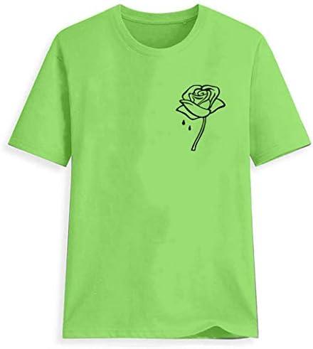 Muyise damska letnia koszulka z nadrukiem, jednokolorowa koszulka z krÓtkim rękawem, tunika: Odzież