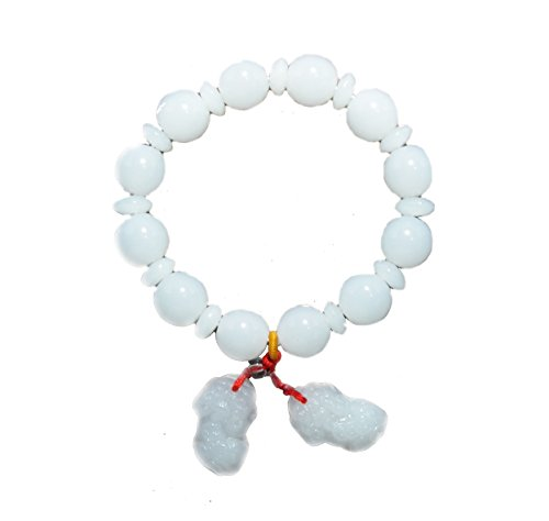 Handmade Bracelet, Pe Sia, Pi Yao, Pi Xiu, Dragon Chinese, Luck, Save Money, Wealth, Success, Tibetan, White Mala (BC10065) ()