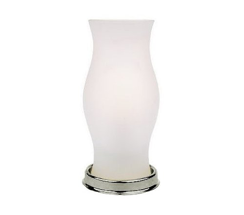 Decorative battery powered table lamps webnuggetz battery operated led hurricane lamp with frosted glass vase nickel base aloadofball Gallery