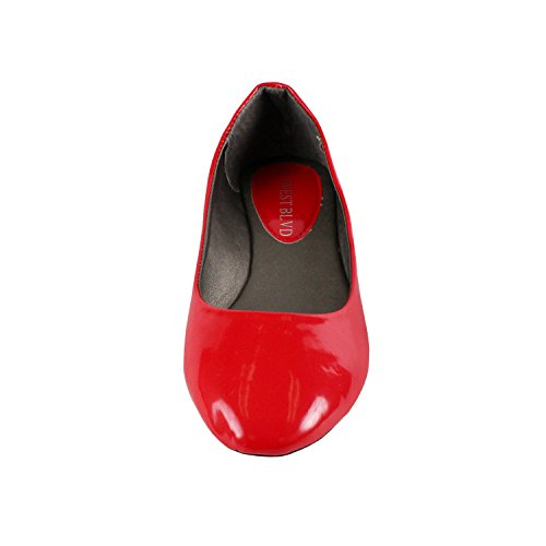 Westbalv Frauen Casual Ballett Flat Rotes Patent