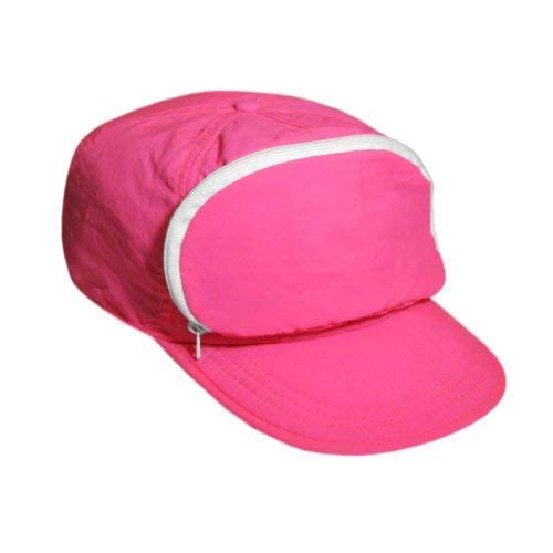 Cap-sac Nylon Cap with Zipper Pocket and and Hook and Loop Closure. Pink. One Size.