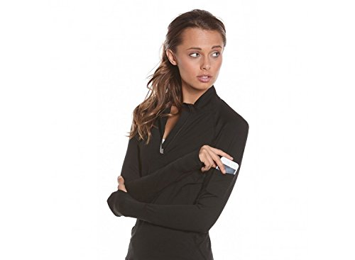 BloqUV Women's Mock Zip Hoodie, Black, X-Small