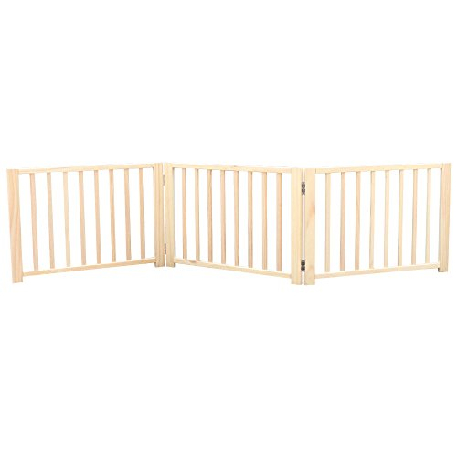 B&P Folding Panel Gate - Exercise Yard Fence for Pets (3-Panel,Natural Solid Wood (Folding Fence)