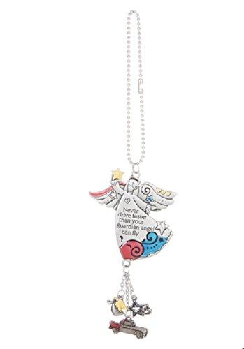 Ganz NEVER DRIVE FASTER Guardian Angel Car Charm & Chain for Rearview Mirror -