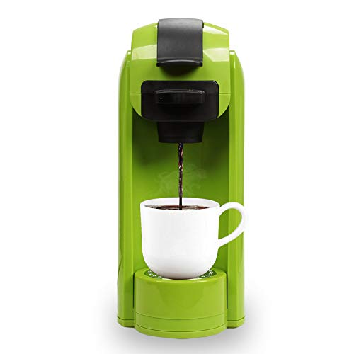 Caynel Single Serve Coffee Maker, Coffee Machine for Most Single Cup Pods including K-Cup Pods and Ground Coffee, Included Reusable Coffee Filter. 14 oz Removable Water Tank with Level Marks, Rapid Brew Technology 1000 Watts (Green)