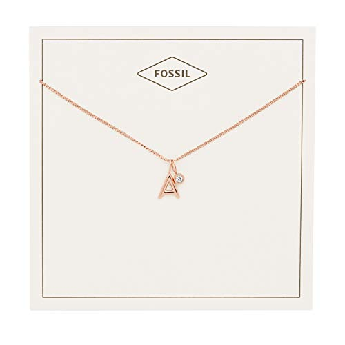 Fossil Pendant Rose (Fossil Women's Letter A Rose Gold-Tone Stainless Steel Necklace, One Size)