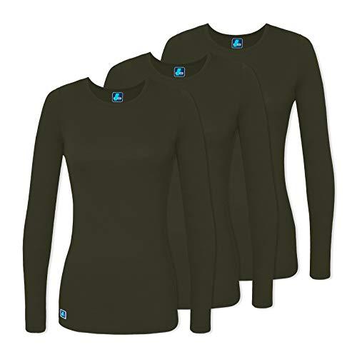 Adar 3 Pack Women's Comfort Long Sleeve T-Shirt/Underscrub Tee - 2903 - Olive - XL ()