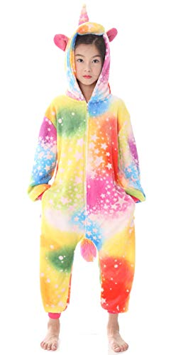 Kids Animal Unicorn Pajama Onesie - Soft and Comfortable with Pockets (B-Colorful Sky Unicorn, 130# Height(47-51 inch)) ()