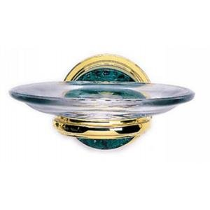 Phylrich KNF25_24D Satin Gold Antiqued Carrara Green Marble Wall Mounted Soap Dish from the Carrara