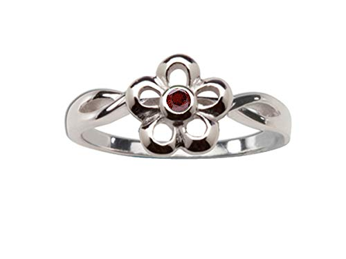 Sterling Silver January CZ Simulated Birthstone Baby Ring with Daisy Flower ()