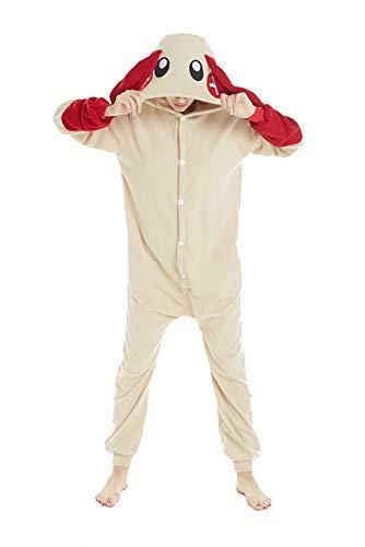 Honeystore Funny Animal Pjs One Piece Halloween Cosplay Costume Pajama Sleepwear Red Rabbit XL ()