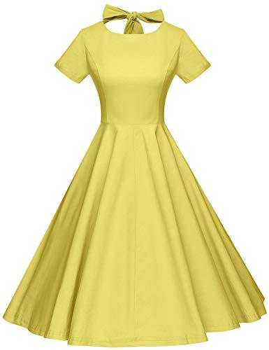 (GownTown Womens 1950s Vintage Retro Party Swing Dress Rockabillty Stretchy Dress)